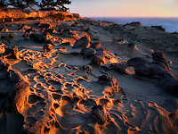 Sandstone rock formations and setting sun at Shore Acres State Park, Oregon