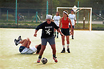 Women playing football Buenos Aires Argentina. 2000s 2002<br /> The Exactas play a friendly practice match against themselves. During the summer they play twice a week, usually one friendly and one league game against one of the other eighteen women's five aside teams in Buenos Aires, Argentina
