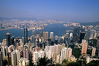 The most majestic harbor in the world of Hong Kong and Kowloon taken from Victoria Peak looking over the entire busy harbour and skyscraper