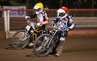Heat 9 re-run: Ben Morley (red) and Tom Perry (yellow) - Lakeside Hammers vs Leicester Lions, Elite League Speedway at the Arena Essex Raceway, Pufleet - 04/04/14 - MANDATORY CREDIT: Rob Newell/TGSPHOTO - Self billing applies where appropriate - 0845 094 6026 - contact@tgsphoto.co.uk - NO UNPAID USE