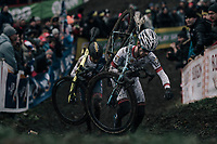 current U23 World Cup leader Eli Iserbyt (BEL/Marlux-Napoleon Games) leading the race with Tom Pidcock (GBR/U23/Telenet Fidea Lions) in tow<br /> <br /> U23 Men's race<br /> UCI CX World Cup Namur / Belgium 2017