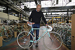 Aldo Garufi, Marketing and Communication Bianchi, holds a Bianchi L'Eroica special customer bike ready to ship, Bianchi Factory, Treviglio, Italy. 30th September 2015.<br /> Picture: Eoin Clarke | Newsfile
