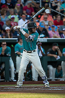 Michael Paez #1 of the Coastal Carolina Chanticleers bats during a College World Series Finals game between the Coastal Carolina Chanticleers and Arizona Wildcats at TD Ameritrade Park on June 27, 2016 in Omaha, Nebraska. (Brace Hemmelgarn/Four Seam Images)