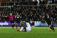 Tammy Abraham of Swansea City appeals to referee Stuart Attwell for a foul during the Premier League match between Swansea City and Bournemouth at the Liberty Stadium, Swansea, Wales, UK. Saturday 25 November 2017