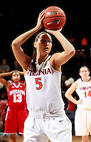 CHARLOTTESVILLE, VA- December 1: Erinn Thompson #5 of the Virginia Cavaliers handles the ball during the game against the Indiana Hoosiers on December 1, 2011 at the John Paul Jones Arena in Charlottesville, Virginia. Virginia defeated Indiana 65-49. (Photo by Andrew Shurtleff/Getty Images) *** Local Caption *** Erinn Thompson