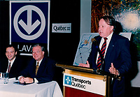 1998 File Photo, Laval (Quebec) CANADA<br /> Joseph Facal (L),<br /> Gilles Vaillancourt, Laval Mayor (M)<br /> Bernard Landry, Quebec Premier (R) speak at the<br /> Press Conference for the construction of the Montreal subway to Laval<br /> <br /> Photo : (c) 1999 by Pierre Roussel / Images Distribution