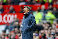 Swansea City manager Carlos Carvalhal grimaces during the Premier League match between Manchester United and Swansea City at the Old Trafford, Manchester, England, UK. Saturday 31 March 2018