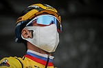 Yellow Jersey Primoz Rogloc (SLO) Team Jumbo-Visma at sign on before Stage 5 of Paris-Nice 2021, running 200km from Vienne to Bollene, France. 11th March 2021.<br /> Picture: ASO/Fabien Boukla   Cyclefile<br /> <br /> All photos usage must carry mandatory copyright credit (© Cyclefile   ASO/Fabien Boukla)