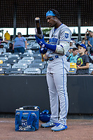 Omaha Storm Chasers Lucius Fox (1) during a game against the St. Paul Saints on September 7, 2021 at CHS Field in St. Paul, Minnesota.  (Brace Hemmelgarn/Four Seam Images)