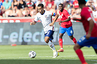 SANDY, UT - JUNE 10: Tyler Adams #4 of the United States moves with the ball during a game between Costa Rica and USMNT at Rio Tinto Stadium on June 10, 2021 in Sandy, Utah.