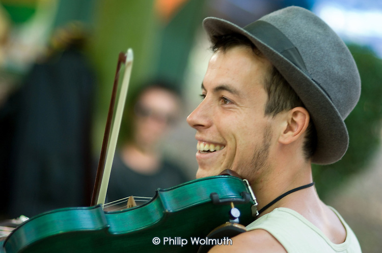 Fiddle player at the 31st International Festival of Luthiers and Maitres Sonneurs, in Saint Chartier, France.