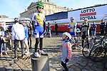 Young and old gather to see the riders at sign on before the start of the 113th edition of the Paris-Roubaix 2015 cycle race held over the cobbled roads of Northern France. 12th April 2015.<br /> Photo: Eoin Clarke www.newsfile.ie