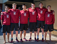STANFORD, CA - February 17, 2018: Tarek Abdelghany, Sam Perry, Alex Liang, Curtis Ogren, Liam Egan, Ted Miclau at Avery Aquatic Center. The Stanford Cardinal defeated the California Golden Bears 151-149 on Senior Day.