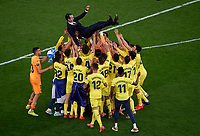 Villarreal s players throw head coach Unai Emery top into the air after winning the UEFA Europa League final match between Villarreal CF and Manchester United, ManU in Gdansk, Poland, May 26, 2021. <br /> <br /> Gdansk 26/05/2021<br /> Europa League Final <br /> Villarreal Vs Manchester United<br /> Photo Pablo Morano/Xinhua/Imago/Insidefoto