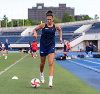 TOKYO, JAPAN - JULY 20: Carli Lloyd #10 of the USWNT warms up during a training session at the practice fields on July 20, 2021 in Tokyo, Japan.