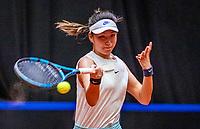 Den Bosch, The Netherlands, April 16, 2021,    Maaspoort, Billy Jean King Cup  Netherlands -  China , First Match: Xinyu Wang (CHN)<br /> Photo: Tennisimages/Henk Koster