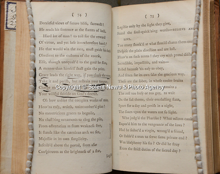 Pictured: A page of the 1st volume of William Cowper's book of poems, with underlining done by an unknown individual, suspected to be a previous owner.<br /> <br /> Chawton house has recently received a set of rare 1st edition William Cowper Poem books, which Jane Austin most likely read extensively during her time staying at the house. This was to thanks to 'Friends of the National Libraries' and the 'Godmersham Lost Sheep Society'. <br /> <br /> These exact books once belonged to Jane Austins brother, Edward Austen Knight, who inherited the estate. These books contain a bookplate belonging to Jane Austin's great nephew George Montagu Knight, as well as a shelf mark signifying where the books sat in the family library.<br /> <br /> © Ewan Galvin/Solent News & Photo Agency<br /> UK +44 (0) 2380 458800