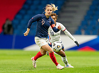 LE HAVRE, FRANCE - APRIL 13: Eugenie Le Sommer #9 of France dribbles during a game between France and USWNT at Stade Oceane on April 13, 2021 in Le Havre, France.