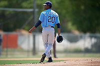 Tampa Bay Rays Genesis Cabrera (20) during a minor league Spring Training game against the Baltimore Orioles on March 29, 2017 at the Buck O'Neil Baseball Complex in Sarasota, Florida.  (Mike Janes/Four Seam Images)