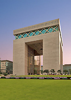 Dubai Financial District.  The Gate Building housing the DIFC, the international finance centre..