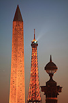 Twilight view of Obelisk and a street lamp in Concorde Square Place de la Concorde with Eiffel Tower in the background. Paris. France