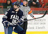 Kenny Agostino (Yale - 18) - The Harvard University Crimson defeated the visiting Yale University Bulldogs 8-2 in the third game of their ECAC Quarterfinal matchup on Sunday, March 11, 2012, at Bright Hockey Center in Cambridge, Massachusetts.