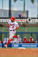 7 March 2019: Washington Nationals outfielder Adam Eaton rounds the bases after hitting a solo home run in the 3rd inning of a Spring Training Game against the New York Mets at the Ballpark of the Palm Beaches in West Palm Beach, Florida. The Nationals defeated the visiting Mets 6-4 in Grapefruit League, pre-season play. Mandatory Credit: Ed Wolfstein Photo *** RAW (NEF) Image File Available ***