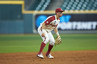 Arkansas Razorbacks shortstop Robert Moore (1) on defense against the Baylor Bears in game nine of the 2020 Shriners Hospitals for Children College Classic at Minute Maid Park on March 1, 2020 in Houston, Texas. The Bears defeated the Razorbacks 3-2. (Brian Westerholt/Four Seam Images)