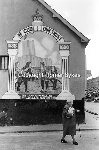 Derry Northern Ireland Londonderry. 1979. Protestant political wall mural.