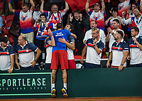 The Hague, The Netherlands, September 15, 2017,  Sportcampus , Davis Cup Netherlands - Chech Republic, Seccond Rubber: Lukas Rosol (CZE) defeats Haase and put Chech Republic in a comfortable 0-2 and is congratulated by his team members<br /> Photo: Tennisimages/Henk Koster