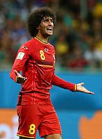 Marouane Fellaini of Belgium gestures in frustration