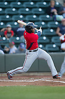 Khayyan Norfork (15) of the Potomac Nationals breaks his bat against the Winston-Salem Dash at BB&T Ballpark on May 13, 2016 in Winston-Salem, North Carolina.  The Dash defeated the Nationals 5-4 in 11 innings.  (Brian Westerholt/Four Seam Images)