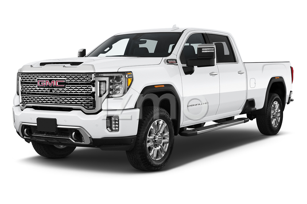 2020 GMC Sierra-3500HD Denali 4 Door Pick-up Angular Front automotive stock photos of front three quarter view