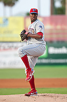 Pitcher Perci Garner #10 of the Clearwater Threshers during the game against the Daytona Cubs at Jackie Robinson Ballpark on May 3, 2012 in Daytona Beach, Florida. (Scott Jontes/Four Seam Images)