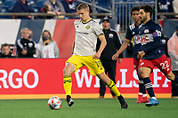 FOXBOROUGH, MA - MAY 16: Sebastian Berhalter #18 Columbus SC during a game between Columbus SC and New England Revolution at Gillette Stadium on May 16, 2021 in Foxborough, Massachusetts.