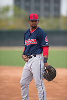 Cleveland Indians first baseman Wilbis Santiago (17) during a Minor League Spring Training game against the Chicago White Sox at Camelback Ranch on March 16, 2018 in Glendale, Arizona. (Zachary Lucy/Four Seam Images)
