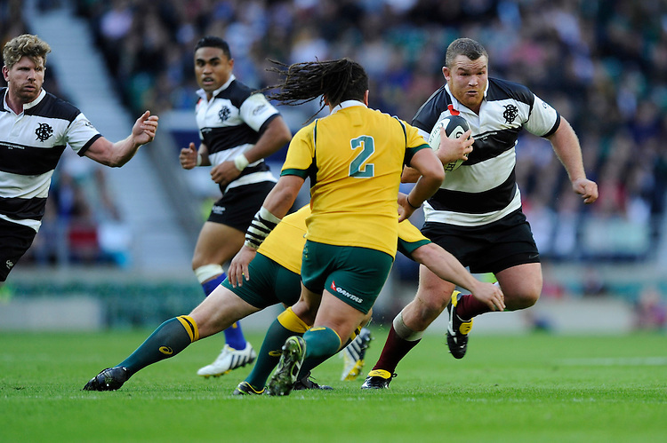 Matt Stevens of Barbarians in action during the Killik Cup match between Barbarians and Australia at Twickenham Stadium on Saturday 1st November 2014 (Photo by Rob Munro)