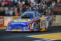 Aug. 5, 2011; Kent, WA, USA; NHRA funny car driver Ron Capps during qualifying for the Northwest Nationals at Pacific Raceways. Mandatory Credit: Mark J. Rebilas-