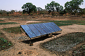 Tankular, The Gambia. Solar panels at an agricultural project funded by international charity aid.