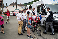 Nicolas Edet (FRA/Cofidis) is deeply disappointed as he is forced to abandon the race after hanging on a thread trying to catch the peloton again for a good hour... overtaken by emotions, he gets into the teamcar<br /> <br /> Stage 6: Mulhouse to La Planche des Belles Filles (157km)<br /> 106th Tour de France 2019 (2.UWT)<br /> <br /> ©kramon