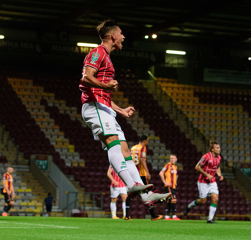 Lincoln City's Lewis Montsma celebrates scoring his side's third goal<br /> <br /> Photographer Chris Vaughan/CameraSport<br /> <br /> Carabao Cup Second Round Northern Section - Bradford City v Lincoln City - Tuesday 15th September 2020 - Valley Parade - Bradford<br />  <br /> World Copyright © 2020 CameraSport. All rights reserved. 43 Linden Ave. Countesthorpe. Leicester. England. LE8 5PG - Tel: +44 (0) 116 277 4147 - admin@camerasport.com - www.camerasport.com