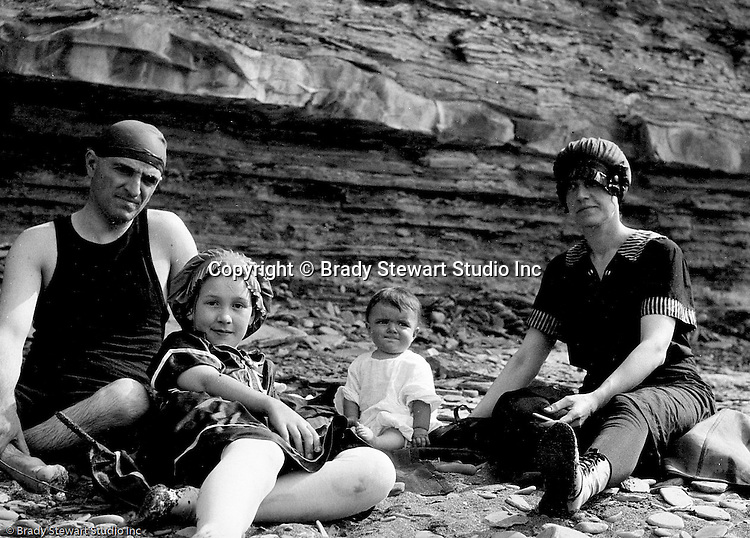 Erie PA:  Brady and Helen Stewart on the beach with niece and sister-in-law enjoying the Lake Erie shore.