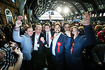 © Joel Goodman - 07973 332324 . 05/05/2017 . Manchester , UK . ANDY BURNHAM (c) with supporters after winning the race , at the declaration . The count for council and Metro Mayor elections in Greater Manchester at the Manchester Central Convention Centre . Photo credit : Joel Goodman