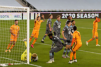ST PAUL, MN - OCTOBER 18: Dayne St. Clair #97 of Minnesota United FC with the save during a game between Houston Dynamo and Minnesota United FC at Allianz Field on October 18, 2020 in St Paul, Minnesota.