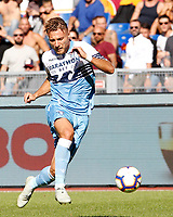 Lazio's Ciro Immobile in action during the Italian Serie A football match between Roma and Lazio at Rome's Olympic stadium, September 29, 2018. Roma won 3-1.<br /> UPDATE IMAGES PRESS/Riccardo De Luca
