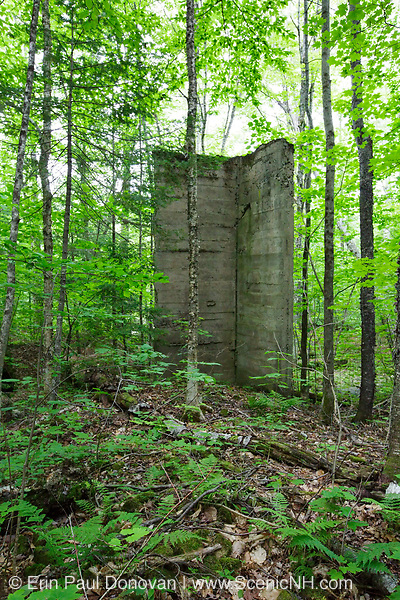 Site of the abandoned Matson Flooring Company along the Gordon Pond Railroad in Lincoln, New Hampshire USA. This was a logging railroad in operation from 1907 - 1916 (+/-).