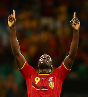 Romelu Lukaku of Belgium celebrates at full time