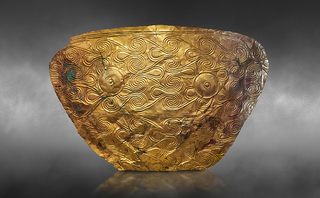 Mycenaean Gold breat plate from Grave IV, Grave Circle A, Myenae, Greece. National Archaeological Museum Athens. 16th Cent BC. Cat No 626, 625. Grey art Background