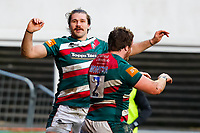 6th February 2021; Mattoli Woods Welford Road Stadium, Leicester, Midlands, England; Premiership Rugby, Leicester Tigers versus Worcester Warriors; Kobus van Wyk of Leicester Tigers celebrates their second try of the match