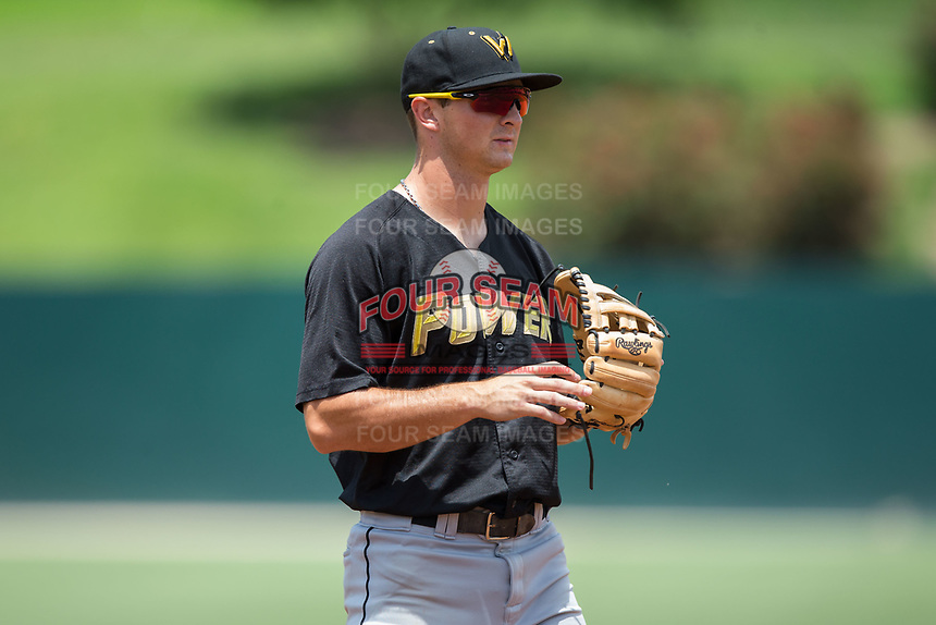 West Virginia Power third baseman Hunter Owen (10) on defense against the Kannapolis Intimidators at Kannapolis Intimidators Stadium on June 18, 2017 in Kannapolis, North Carolina.  The Intimidators defeated the Power 5-3 to win the South Atlantic League Northern Division first half title.  It is the first trip to the playoffs for the Intimidators since 2009.  (Brian Westerholt/Four Seam Images)